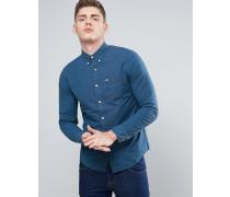 Schmal geschnittes Hemd aus Stretch-Popeline in Marineblau Marineblau