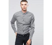 Schmal geschnittenes Hemd mit kleinem Muster Schwarz