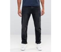 Gerade geschnittene Jeans in schwarzer Waschung Schwarz