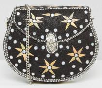 Handgefertigte Tasche mit Sternverzierung und abnehmbarem Riemen Schwarz