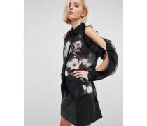 Transparentes Shirt mit freier Schulter, Rüschen und Blumenmotiv Schwarz