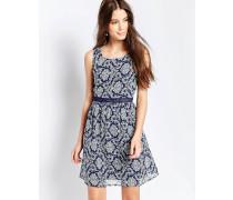 Bedrucktes Kleid mit Kontrastkragen Blau