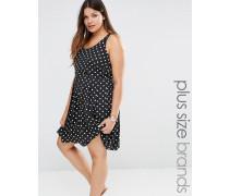 Ärmelloses Kleid mit Punkten Weiß