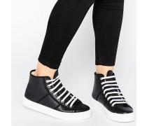 Perforierte, hohe Ledersneaker Schwarz
