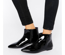 Katlin Flache Lederstiefel in schwarzer Lackoptik Schwarz