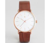 Boyfriend-Uhr mit schlichten Zifferblatt und hellbraunem Armband in Kroko-Optik Bronze