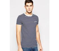 Marineblau gestreiftes T-Shirt mit Tasche Marineblau
