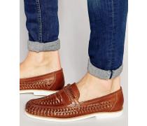 Braune Leder-Loafer in Flechtoptik Braun