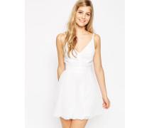 Camisole-Minikleid mit Sparren-Strukturmuster Weiß