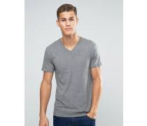 Basic-T-Shirt mit V-Ausschnitt Grau