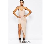 Kleid mit überkreuztem Vorderteil und asymmetrischem Saum Rosa