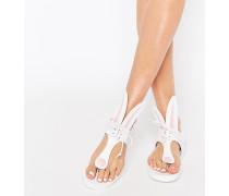 Miss Bunny Flache Sandalen in Weiß Weiß
