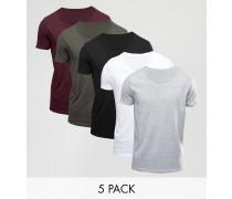 5er Packung T-Shirts mit U-Ausschnitt DU SPARST Mehrfarbig