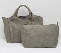Einkaufstasche mit Quasten Grau