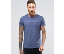T-Shirt in Acid-Waschung mit Tasche Blau