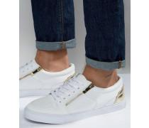 Sneaker in Weiß mit goldenem Reißverschluss Weiß