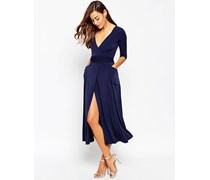 Langes Wickelkleid aus Krepp-Jersey Marineblau