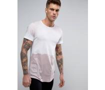 Lang geschnittenes T-Shirt mit Farbklecks-Design Rosa
