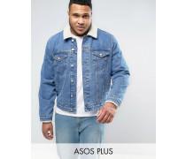 PLUS Jeansjacke mit Borg-Kragen in mittlerer Waschung Blau