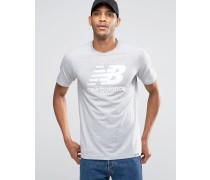 MT63554_AG Klassisches, graues T-Shirt mit Logo Grau