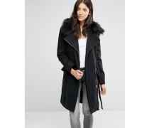 Lang geschnittener Mantel mit Gürtel und Kunstfellbesatz Schwarz