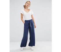 Hose mit weitem Bein und Taillenband Marineblau