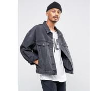 Oversize-Jeansjacke in verwaschenem Schwarz Schwarz