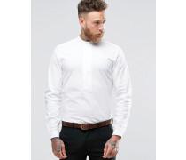 Enges Hemd mit Henleykragen in Weiß Weiß