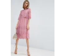 Hochwertiges, hübsches, zweilagiges Kleid mit Stickerei Rosa