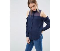 Bluse mit Schulterausschnitten und transparentem Einsatz Marineblau