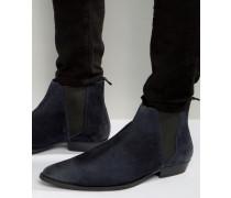 Spitze Chelsea-Stiefel aus marineblauem Wildleder Marineblau