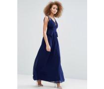 Maxi-Schößchenkleid mit tiefem Ausschnitt und verzierten Schultern Marineblau