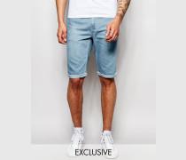 Enge Jeansshorts mit unbearbeitetem Saum in heller Stonewash-Optik Blau
