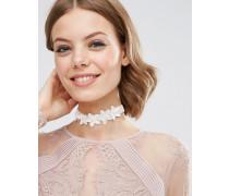 Halsband für besondere Anlässe mit Blumenschmuck Cremeweiß