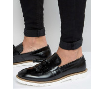 Elegante Loafer aus schwarzem Leder mit großen Quasten Schwarz