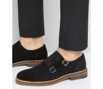 Monk-Schuhe aus schwarzem Wildleder mit natürlicher Sohle Schwarz