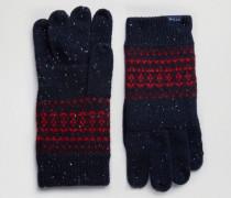 Marineblaue Handschuhe aus Lammwolle mit Norwegermuster Marineblau