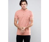 Einfarbiges Jersey-Poloshirt mit Kontrastleiste Rosa