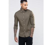 Eng geschnittenes Hemd in Khaki mit Button-Down-Kragen Grün
