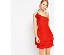 Kleid mit einem Träger und Rüschen Rot
