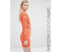 Langärmliges Minikleid aus Spitze mit Grafikmuster Orange
