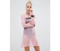 Kleid aus glitzerndem Netzstoff Rosa