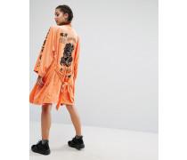 Trophy Kimono aus Samt mit Tattoodruck Orange