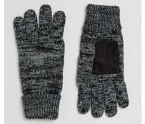 Schwarz-weiß melierte Strickhandschuhe Schwarz