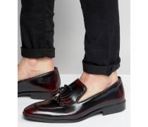 Slipper aus burgunderrotem Leder mit Fransen Rot