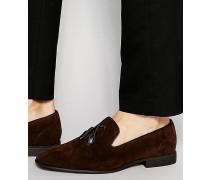 Slippers mit Quaste aus braunem Wildlederimitat Braun