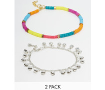 Fußkettchen im Perlen- und Regenbogendesign im 2er-Pack Mehrfarbig