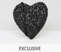 Umhängetasche mit kleinem Herzmuster Schwarz
