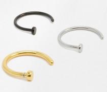 DesignB Offene Nasenringe im 3er Pack Silber