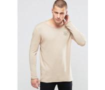 Leichter Pullover mit breitem Kragen Steingrau